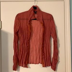 Pretty crinkled blouse in a great Fall color!